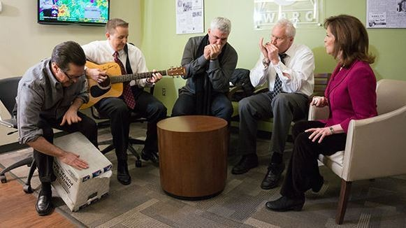 """From left, Rick Karle, Wes Wyatt, Taylor Hicks, Mickey Ferguson and Janet Hall perform """"Snowman-Building Blues"""" at WBRC-TV/Fox 6 in Birmingham, Ala., in February 2015. (Photo courtesy of WBRC-TV/Fox 6)"""