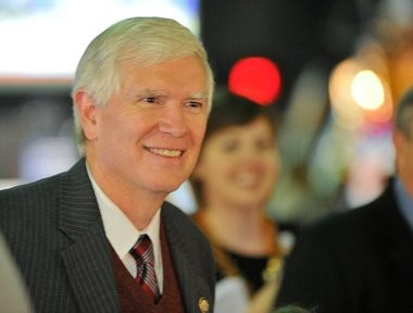 U.S. Rep Mo Brooks watches election returns with supporters at the U.S. Space & Rocket Center Davidson Center. Bob Gathany /bgathany@al.com)