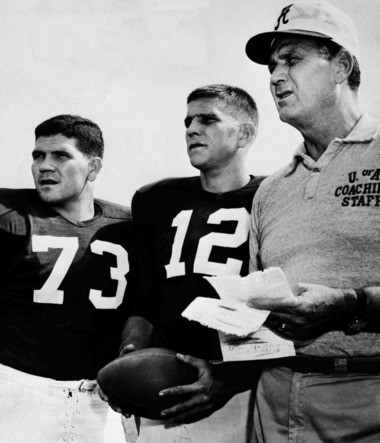 Alabama football coach Paul Bryant, right, talks over practice plans with tackle Billy Neighbors, left, and quarterback Pat Trammell in Tuscaloosa, Ala., on Sept. 6, 1961. (AP Photo, File)