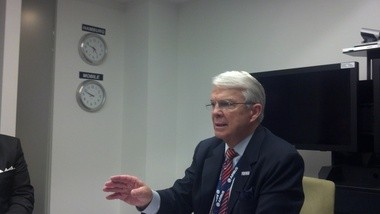 """Airbus Americas Chairman Allan McArtor, pictured above at Brookley Aeroplex in November 2012, has said a proposed $600 million final assembly plant in Mobile is posed to become the """"epicenter"""" of the company's North American commercial activity and hiring will commence as soon as company officials finalize job descriptions and streamline the online application process. (Kelli Dugan/kdugan@al.com)"""