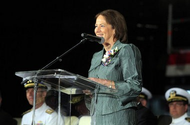 U.S. Small Business Administrator Karen Mills speaks before approximately 600 people during an April 20, 2013, ceremony to christen the USNS Millinocket at Austal USA in Mobile, Ala. (Mike Kittrell/MKittrell@al.com)