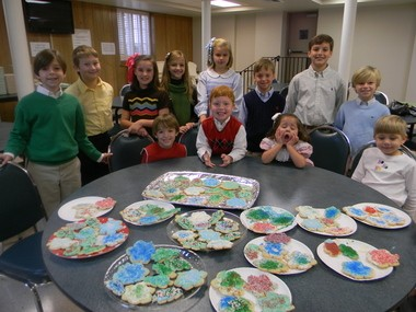 Children at Government Street Presbyterian Church decorated cookies for the church's annual Coffee Club Christmas Party and for a Christmas celebration at The Haven. Seated, from left: Tom Bain, Mac Boone, Margaret Otts, Coleman Callaway; standing: Sykes Ashbee, Lane Wright, Sophie Bain, Kelleen Walker, Sacky Otts, Jackson Boone, Robert Bain and Stephens Ashbee. (Submitted by Shawn Walker)