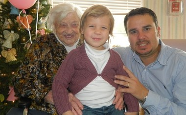 Nell Wassman of Grand Bay celebrated her 96th birthday on Christmas Eve with her grandson, Steven Wassman, and great-granddaughter, Abigail Wassman at the Grand Bay Convalescent Home where she resides. Wassman is a former member of the Oak Park Church of God. (Submitted by Steven Wassman)