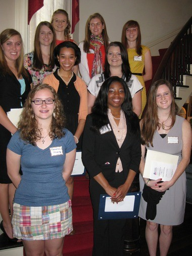 The Mobile area chapters of the Daughters of the American Revolution held the annual Award Ceremony and Reception to honor the area 2012-13 High School Good Citizens Winners and the District Essay Contest winner. Front row, from left: Alexandrea Moseley, Alabama School of Math and Science, sponsored by the Mobile Chapter; Kortnee Dees, LeFlore High School, sponsored by Tristan de Luna Chapter; Mary Bryant, St. Paul's Episcopal School sponsored by Virginia Cavalier Chapter; second row: Juliana Dees, Millry High School, sponsored by Needham Bryan Chapter; Leah Andrews,Davidson High School, sponsored by Tristan de Luna Chapter; Ali Presley, Mobile Christian School, sponsored by d'Iberville Chapter; third row: Jamie Rowe, Theodore High School, sponsored by d'Iberville Chapter; Shelby Easterling, Alma Bryant High School, sponsored by d'Iberville Chapter; Anna Grace Claunch, District Essay Winner from Fairhope High School, sponsored by Ecor Rouge Chapter; and Kendall Williams, Citronelle High School, sponsored by Needham Bryan Chapter. Not pictured: Holly Taylor,Satsuma High School, sponsored by Tristan de Luna Chapter; Amber Allen, Mary G. Montgomery High School, sponsored by Needham Bryan Chapter; Savannah Ainsworth, Faith Academy, sponsored by Needham Bryan Chapter; and Brooke Allen, Mary Montgomery High School, sponsored by Needham Bryan Chapter. (Submitted by Shelia Shell)