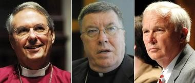 Alabama church leaders, from left, Episcopal Bishop Henry N. Parsley, Roman Catholic Bishop Robert Baker and United Methodist Bishop William H. Willimon filed suit on Aug. 1, 2011, to stop enforcement of Alabama's immigration law. Their suit was dismissed, but they say they feel vindicated by the court process. (Birmingham News file photos)