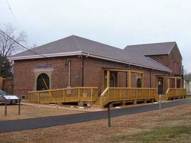 The Jacksonville Train Depot was built in 1860 but not used until 1868. It was restored and opened in 2010 as a community building. (Contributed by Encyclopedia of Alabama)