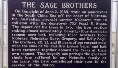 This monument to the three Sage brothers -- Gary, 22; Gregory, 21; and Kelly, 19 -- was erected in Nebraska in 2009. (Contributed by LostatSeaMemorials.com)