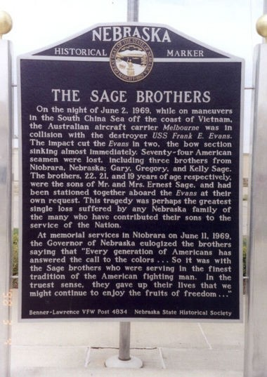 The monument to the three Sage brothers killed aboard the destroyer USS Frank E. Evans in Nebraska. (Contributed by LostatSeaMemorials.com)
