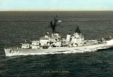 The USS Frank E. Evans sank following a collision during training exercises in 1969. Tom Guerra wrote a song that advocates listing the names of the men on the Vietnam Memorial in Washington, D.C. (Contributed by John Coffey)