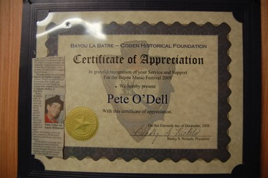 A certificate of appreciation Pete O'Dell received from the Bayou La Batre/Coden Historical Foundation. (Nathan Simone/AU Living Democracy Community Reporter)