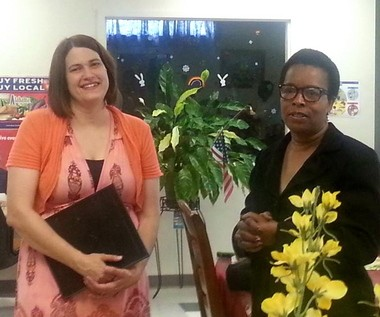 Hobson City Mayor Alberta McCrory, right, presents Donna Ross with a plaque of appreciation. (Contributed Photo)