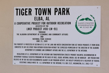 Tiger Town Park sits behind Elba High School remnant saved by the community. (Sierra Lehnhoff/Living Democracy Community Reporter)
