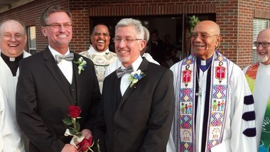 From left, the Rev. Kevin Higgs, Bobby Prince, the Rev. J.R. Finney, Joe Openshaw and Bishop Melvin Talbert. (Photo by Greg Garrison/ggarrison@al.com)