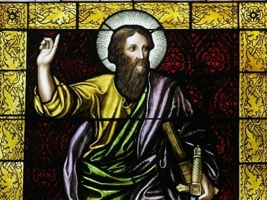 St. Paul, one of the saints remembered on All Saints' Day, as depicted in a stained-glass window at St. Paul's Cathedral. (File)