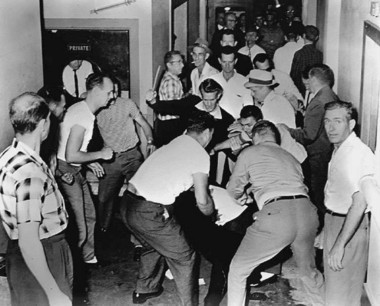 Moments before Tommy Langston was attacked on May 14, 1961, he shot this single photo of Klansmen attacking a Freedom Rider at the Trailways Bus Station in Birmingham. The photo helped identify Klansmen involved in the assault. (Photo by Tommy Langston/File)