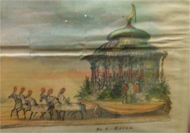 Cart Blackwell's presentation includes Mardi Gras float sketches such as this one, circa 1870-1880s, showing a Hindu design. (Courtesy of Cart Blackwell)