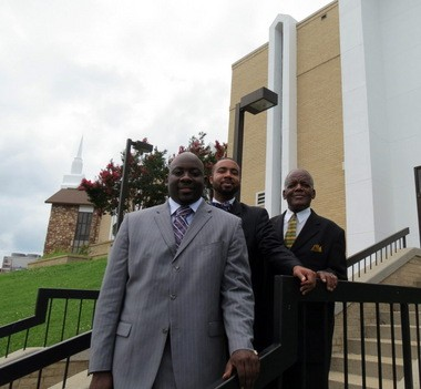 The pastoral staff for Huntsville's First Seventh-day Adventist Church are, from left, senior Pastor Debleaire Snell, executive Pastor Alfonzo Greene III and visiting Pastor Alfred Hill. The congregation will celebrate one year of services in their location at 1303 Evangel Drive in Huntsville on Saturday, July 19, 2014. (Kay Campbell / KCampbell@al.com)