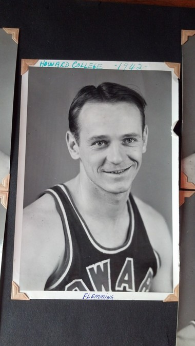 Redmond Wheeler Flemming is shown here in a 1942 photo for Howard College basketball. Flemming played in a Jan. 8, 1943 game when Howard College beat the professional traveling team the Original Celtics of New York, 54-45 at Municipal Auditorium. (Photo courtesy of the family)