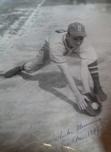 In this 1947 photo, Redmond Wheeler Flemming plays for the Opelika Owls minor-league baseball team, which disbanded after 1951. (Photo courtesy of the family)