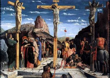 """The Crucifixion,"" painted by Andrea Mantegna in 1457-1459 A.D. for the altarpiece at the Basilica of San Zeno in Verona, Italy, now hangs in the Louvre in Paris."