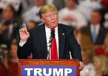 Republican presidential candidate Donald Trump speaks during a campaign rally Monday, March 7, 2016, in Madison, Miss. (AP Photo/Brynn Anderson)