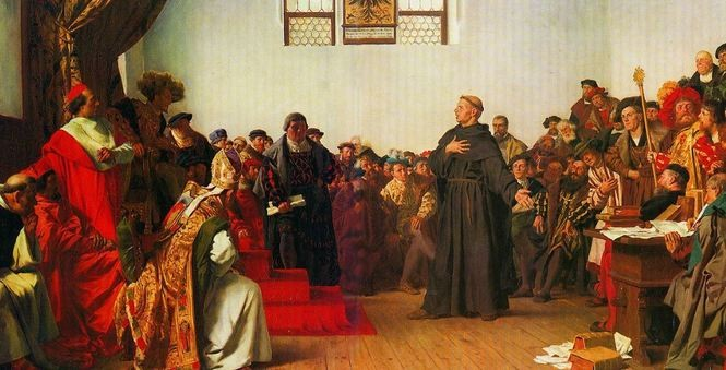 This painting depicts Martin Luther defending himself at the imperial council, the Diet of Worms, in 1521.