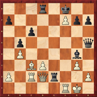 GM Vishy Anand v GM Fabiano Caruana, 5th Sinquefield Cup, St. Louis, 2017. White play his 24th move. Anand's continuation enchanted chess fans worldwide.