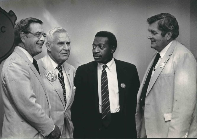 Joe Dickson founded the Alabama Republican Council in 1977 to give black Republicans a voice in state government. He's shown here in 1984 with the Alabama Republican Executive Committee, from left, U.S. Sen. Jeremiah Denton, State Rep. George Seibels, Dickson, and state Rep. Billy Gray. (Photo by Charles Nesbitt/The Birmingham News)