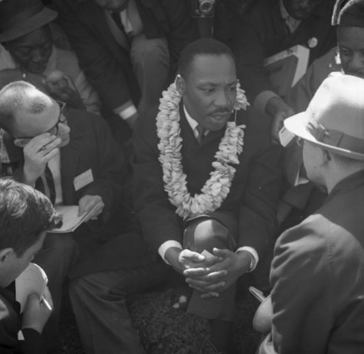 The Rev. Martin Luther King Jr. during the Selma to Montgomery March in 1965. (The Birmingham News/Alabama Media Group/AL.com)