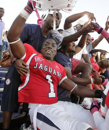 South Alabama safety B.J. Scott (1) reacts to the 37-34 win over Florida Atlantic during a Sun Belt Conference football game Saturday, Oct. 20, 2012, at Ladd-Peebles Stadium in Mobile, Ala. (Mike Kittrell/mkittrell@al.com)