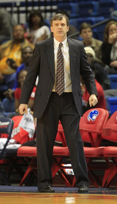 Former South Alabama head coach Rick Pietri reacts to a play in the first half against North Texas during a Sun Belt Conference women's college basketball game Saturday, Feb. 23, 2013, at the Mitchell Center in Mobile, Ala. On Friday, AD Joel Erdmann announced Pietri had been relieved of his duties and the search for a new head coach was under way. (Mike Kittrell/mkittrell@al.com)
