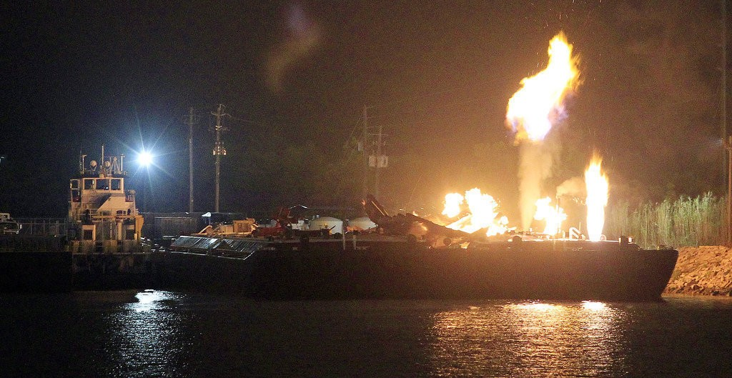 Three people suffered severe injuries from multiple fuel barge explosions on the east side of Mobile River on Wednesday night, April 24, 2013, in Mobile, Alabama. On Tuesday, April 30, 2013, on of those injured workers filed a lawsuit. (Mike Kittrell/mkittrell@al.com)