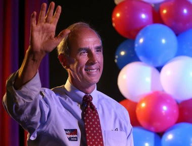Sandy Stimpson waves to his supporters as he comes out on stage during his victory party at Fort Whiting in Mobile, Ala. Tuesday, Aug. 27, 2013 (file photo)