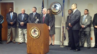 U.S. Attorney George Beck (center), the Federal Bureau of Investigation and other federal, state and local law enforcement officials held a press conference Monday morning to release details in the second-largest dog fighting raid in U.S. history, which took place in Alabama, Georgia and Mississippi on Friday, Aug. 23. (Erin Edgemon/eedgemon@al.com)