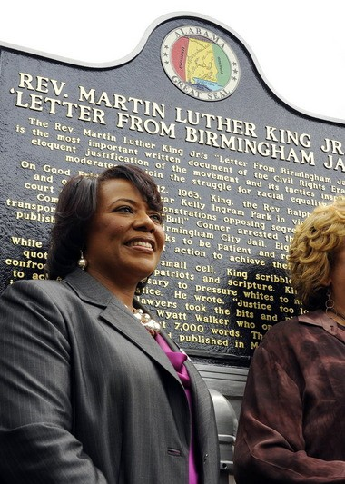Bernice A. King in the file photo speaks in front of the jail where her father, Martin Luther King Jr. was kept in Birmingham for the unveiling of a historic marker honoring him, Tuesday, April 16, 2013. (AP Photo/AL.com, Joe Songer)