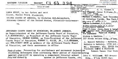 Top of docket sheet from Jefferson County schools desegregation lawsuit filed nearly 50 years ago.