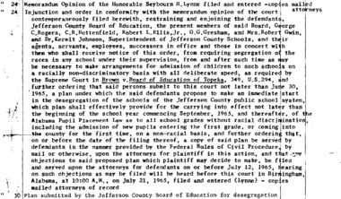June 24,1965 order from U.S. District Court Judge Seybourn H. Lynne ordering the desegregation of the Jefferson County school system