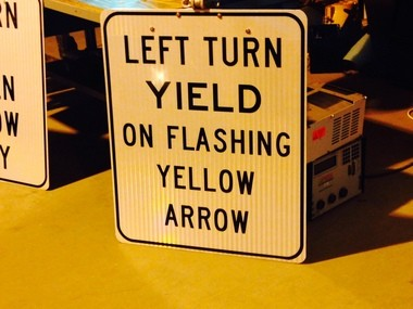 Left turn sign that will be added along with the new flashing yellow arrow signal along U.S. 280 eastbound at Overton Road.