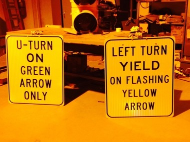 These signs will be added when a flashing yellow arrow signal is installed Friday, Dec. 19, 2014, along U.S. 280 eastbound at Overton Road. Drivers in the U-turn lane still must only make U-turns on green lights.