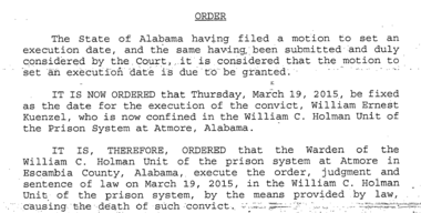 The Alabama Supreme Court on Tuesday ordered a March execution of a man who has spent nearly three decades on Death Row. His lawyers say setting the date and announcing it so close to Christmas was callous and uncaring.