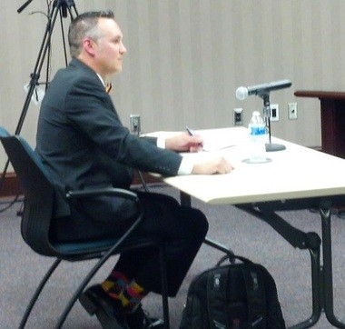 Chris Marczak, assistant superintendent for Oak Ridge City Schools in Tennessee, interviews for the Hoover school superintendent job with the Hoover Board of Education in Hoover, Ala., on Wednesday, April 22, 2015. (Jon Anderson/janderson@al.com)
