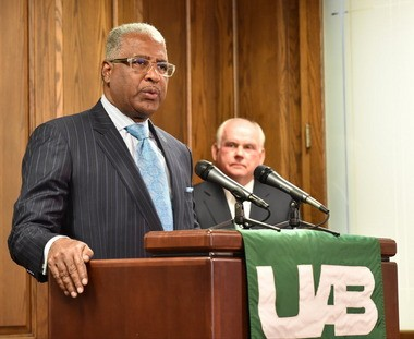 Birmingham Mayor William Bell in the January, 2005 image speaks as UAB President Ray Watts looks on. (Frank Couch\fcouch@al.com)