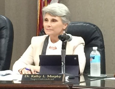 New Hoover schools Superintendent Kathy Murphy listens to a comment from the audience during the Hoover school board meeting on Monday, Aug. 3, 2015. (Jon Anderson/janderson@al.com)