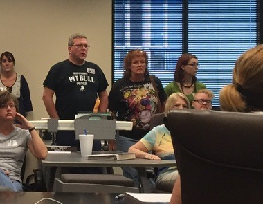 Opponents of breed-specific legislation attended the Homewood City Council's public safety committee meeting Monday, Aug. 3, 2015, as the committee discussed proposals to change the city's vicious dog ordinance.