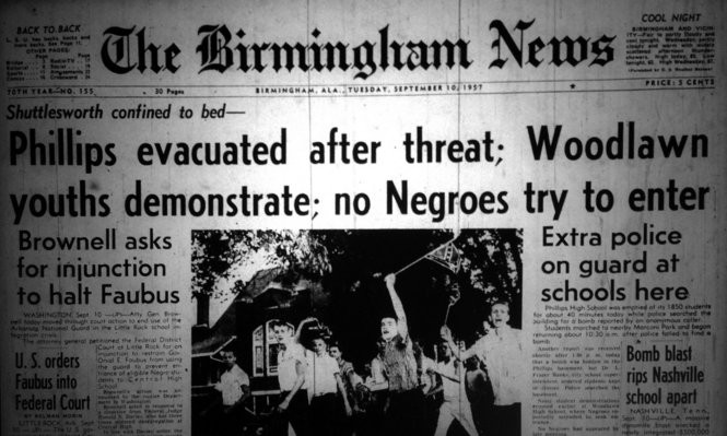 The Birmingham News front page, Sept. 10, 1957