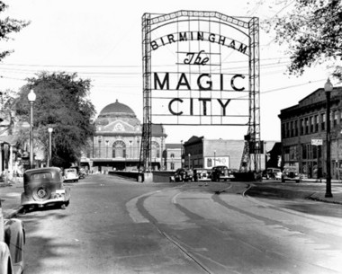 "The original ""Magic City"" sign was erected in 1926 and stood outside Terminal Station. A 46-foot version of the sign will serve as the gateway to the Rotary Trail's western end. (File photo)"