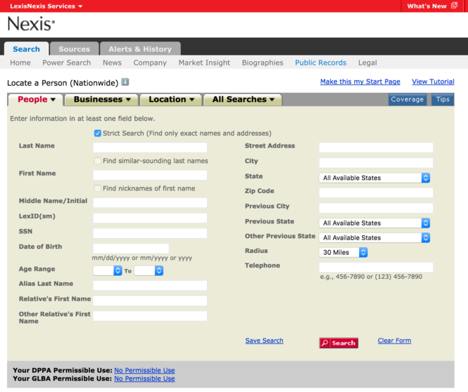 LexisNexis is a popular online service used by professionals, companies and law enforcement agencies to conduct research on individuals and businesses. (Screenshot | LexisNexis)