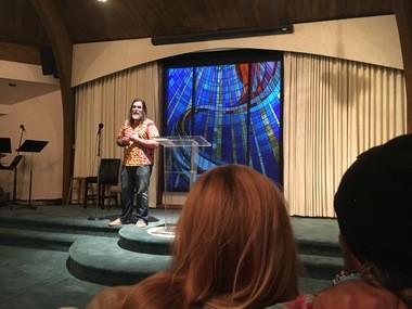 Christopher Rushing, CEO of the Oklevueha Native American Church of Inner Light in Alabama, preaches on Jan. 21, 2017 at Unity Church in Birmingham.