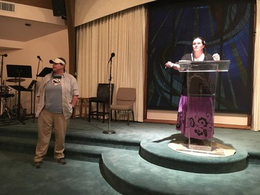 Janice Rushing, president of the Oklevueha Native American Church of Inner Light in Alabama, in the pulpit, and Sherrie Saunders, left, talk about the medical benefits of marijuana on Jan. 21, 2017, at Unity Church in Birmingham, Ala.