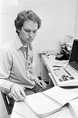 Birmingham News reporter Mike Oliver sits down to write after spending hours inside St. Clair Correctional Facility during a riot April 15, 1985. Inmates asked for Oliver to cover the negotiations because they knew his byline on stories about Alabama prisons and inmates.